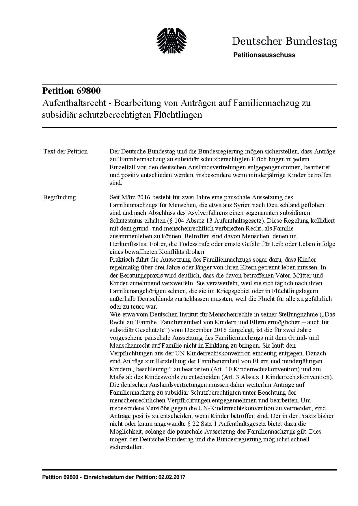 Petition_69800_aufenthaltsrecht-bearbeitung-von-antraegen-auf-familiennachzug-zu-subsidiaer-schutzberechtigten-fluechtlingen
